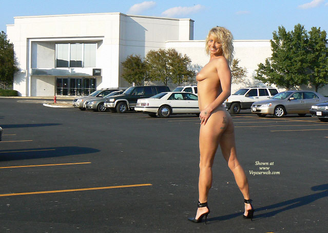 Pic #1 - Nude Milf In Parking Lot - Blonde Hair, Long Hair, Milf, Perfect Tits, Topless, Naked Girl, Nude Amateur , Smiling Broadly To Camera, Firm Body, Tit And Ass Profile Shot, Black Stilettos, Standing Nude In Parking Lot, Long Curly Blond Hair, Topless Body Profile, Tattoo On Ass, Nude Shopping Back View, Nude Parking