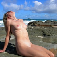 Naked On A Rocky Beach - Landing Strip, Perky Tits, Small Tits, Naked Girl, Nude Amateur