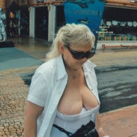 Showing The Tits in Cozemel - Mature, Public Exhibitionist, Public Place