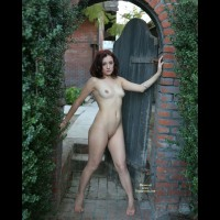 Naked At Patio Gate - Dark Hair, Nude In Public, Perfect Tits, Red Hair, Shaved Pussy, Naked Girl, Nude Amateur