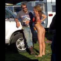Biker Chick In RV Park - Nude In Public, Topless, Naked Girl, Nude Amateur