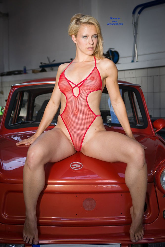 Pic #1 - Red Car - Blonde Hair, Sexy Lingerie , Caroline In A Car Repair