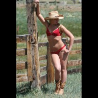 Sexy Blond Cowgirl In Red Bra And Panties With Boots - Blonde Hair