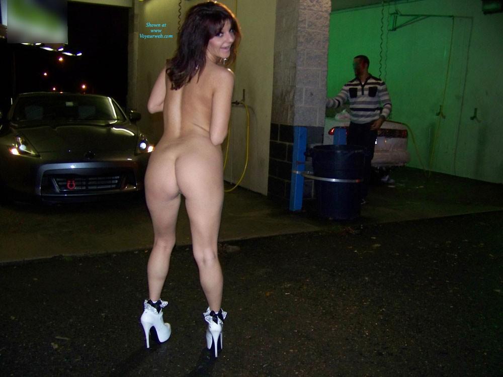 Pic #6 - Lucky Guy at The Car Wash - Brunette, High Heels Amateurs, Public Exhibitionist, Public Place