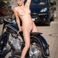 Black Bike - Exposed In Public, Nude In Public
