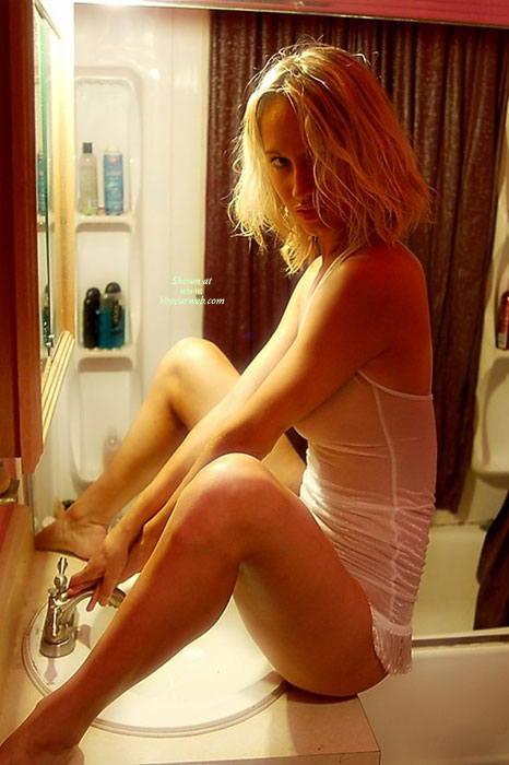 Pic #1 - Sexy Girlfriend Sitting On Bathroom Counter Facing Sink Spread Legs - Blonde Hair, Spread Legs, Hot Girl, Looking At The Camera, Naked Girl, Nude Amateur , Sexy Lips On Blonde, Riding The Sink, White Sheer Cami, Blonde White Lingerie, Sheer Teddy, Sexy Blonde, Cleaning Pssy, Blonde Tight Body, White See Thru, Bare Feet, White Teddy