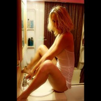 Sexy Girlfriend Sitting On Bathroom Counter Facing Sink Spread Legs - Blonde Hair, Spread Legs, Hot Girl, Looking At The Camera, Naked Girl, Nude Amateur