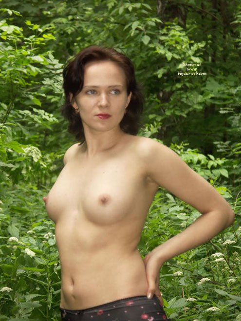 Pic #1 - Topless In The Woods - Topless , Beauty And Nature, Nipples In Nature, All Natural, Auburn Hair, Hands On Hips, Relaxed In The Garden