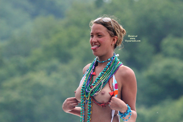 Pic #1 - Flashing Tits With Beads - Flashing, Perfect Tits, Naked Girl, Nude Amateur , Outdoors, Many Beads, Young Flashing, Standing Nude - Tits And Tongue, Showing Her Tongie, Pulling Top Down, Flashing Tits, Medium Round Boobies Partially Obscured By Many Beads, Sticking Tongue Out