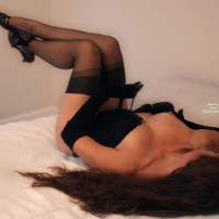 Unfastened Black Corset - Brunette Hair, Stockings