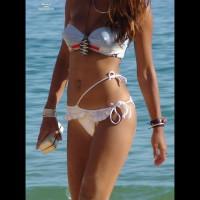 Erected Nipples Under Bikini - Brown Hair, Erect Nipples, Long Hair, Navel Piercing, Perky Tits
