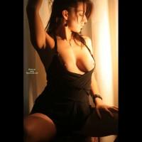 Pose In Black With Amber Warm Light - Black Hair, Dark Hair, Long Hair, Topless