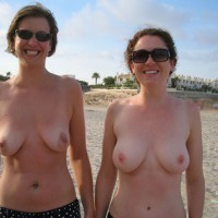 Two Girls Showing Their Tits On The Beach - Topless