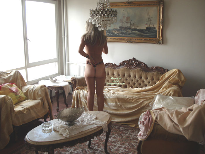 Pic #1 - Rearview Of Topless Girl In Elegant Room - Tan Lines, Topless , G-string White Ass, Tan Lines On Ass Cheeks, Elegant Ass Cheeks