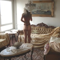Rearview Of Topless Girl In Elegant Room - Tan Lines, Topless
