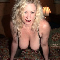 Blonde Girl - Big Tits, Blonde Hair, Hanging Tits, Hard Nipple, Red Lips, Topless Blonde