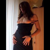 Pierced Nipples Brunette In Black Dress - Brunette Hair, Dark Hair, Long Hair, Natural Tits, Pierced Nipples, Topless