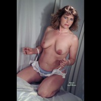 Topless Frontal View Kneeling On Bed In Panties - Blue Eyes, Milf, Topless, Looking At The Camera