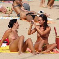 Topless Women Sitting At Beach - Topless, Beach Voyeur, Naked Girl, Nude Amateur