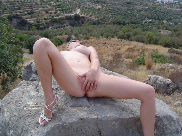 Pic #1 - Nude Girl On A Rock - Huge Tits, Spread Legs, Naked Girl, Nude Amateur , White High Heel Sandals, Creamy Skin, Naked Outdoors, Spread Legs, Touching Herself, Fingering Pussy