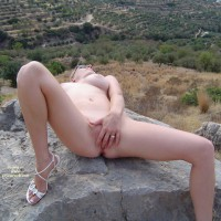 Nude Girl On A Rock - Huge Tits, Spread Legs, Naked Girl, Nude Amateur