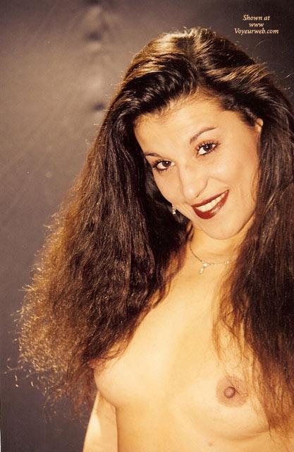 Pic #1 - Topless Portrait - Dark Hair, Long Hair, Topless , Dark Curly Hair, Nice Smile, Smiling