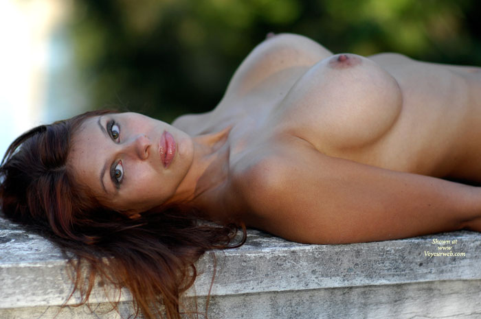 Pic #1 - Brunette Laying On Bench Outdoors Topless - Big Tits, Brown Hair, Brunette Hair, Erect Nipples, Large Breasts, Topless , Almond Eyes, Laying On Gray Stone Bench, Firm Breasts, Bj Lips, Shiny Lips And Large Breasts Outdoors, Brunette With Large Boobs