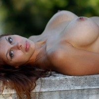 Brunette Laying On Bench Outdoors Topless - Big Tits, Brown Hair, Brunette Hair, Erect Nipples, Large Breasts, Topless