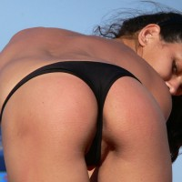 Peek-A-Booty - Topless , Low Cut Thong, Black Bikini Bottom, Bent Over On Beach, Rear View, Black Thong Bottom, Micro Bikini, Ass View, Bending Over