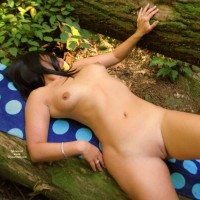 Bare Beaver In Forest - Shaved Pussy, Small Tits, Bald Pussy, Hairless Pussy