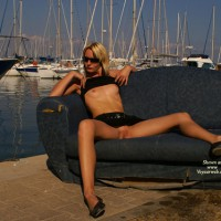 Flashing Tits And Pussy At The Marina - Blonde Hair, Flashing