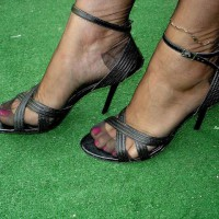 Monica's Pretty Painted Toes In Stiletto's