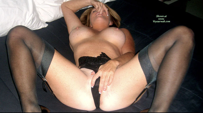 Pic #1 - Topless Wearing Garter Belt And Stockings - Big Tits, Erect Nipples, Milf, Spread Legs, Stockings, Topless , Black 4 Strap Suspender Belt, Hand On Pussy, Legs Spread Wide Apart, Lying Back With Legs Spread, Black Pants, Freckles, Big Tittys, Blond, Perfect Milf On Her Back With Legs Spread