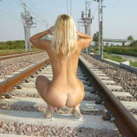 Rear View Of Nude Blonde On Train Tracks - Blonde Hair, Naked Girl, Nude Amateur