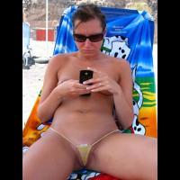 Topless Brunette Wearing Micro Bikini On Beach Texting - Brunette Hair, Flashing, Topless, Beach Pussy, Beach Tits, Beach Voyeur, Hairless Pussy