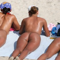 Three Nude Girls On A Beach Sunbathing Their Asses - Nude Beach, Beach Voyeur, Naked Girl, Nude Amateur, Sexy Ass