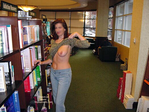 Pic #1 - Flashing In Public - Flashing , Flashing In Public, Bookstore, Big Breast, Library Flash, Flashing Tit, Sweater Exposed Breast Library