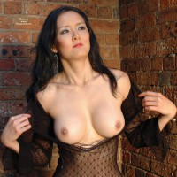 Creamy Asian Skin - Black Hair, Flashing, Large Breasts, Long Hair, Pierced Nipples