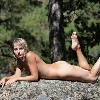 Nude Up On Elbows Laying On Stomach With Toes Pointed - Naked Girl, Nude Amateur
