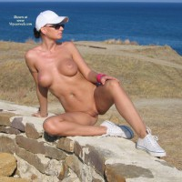 Nude With Legs Spread Looking Away From Camera - Large Breasts, Navel Piercing, Shaved Pussy, Spread Legs, Naked Girl, Nude Amateur , Public Nudity, Wearing Tennis Shoes, Looking At The Horizon, Cliff Top Hottie, Showing Pussy, Nude Sitting On Rock Wall With Legs Spread Leaning Back On One Hand, Naked Near The Sea, Sitting Naked On Stone Wall