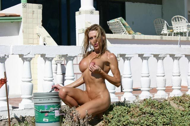 Pic #1 - Nude Girl Painting The Fence - Blonde Hair, Long Hair, Naked Girl, Nude Amateur , Naked Outside, Holding One Breast, Working Nude Outside, Naked Gardening, Hard Body, Large Round Tits