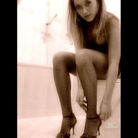 Posing On The Toilet - Heels, Stockings