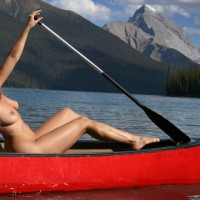 Naked In A Canoe - Blonde Hair, Large Breasts, Nude Outdoors, Naked Girl, Nude Amateur