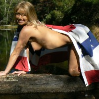 Nude Lady Covered By Stars And Bars Flag - Naked Girl, Nude Amateur