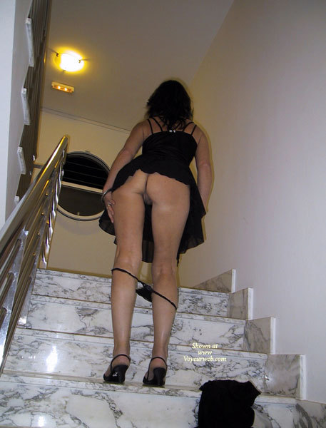 Pic #1 - Upskirt On Stairs With Panties Down - Round Ass, Upskirt, Sexy Ass, Sexy Legs , Sexy Round Ass, Short Heels, Stripping On Stairway, Invitation Upstairs, Black Panties At Knees, Upskirt On Stairs, Black High Heel Shoes, Black Dress, Full Moon Skirt, Wedding Ring