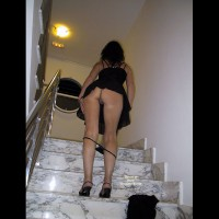 Upskirt On Stairs With Panties Down - Round Ass, Upskirt, Sexy Ass, Sexy Legs