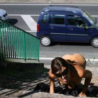 Nude Girl In Public Beside Street - Brunette Hair, Flashing, Nude In Public, Naked Girl, Nude Amateur