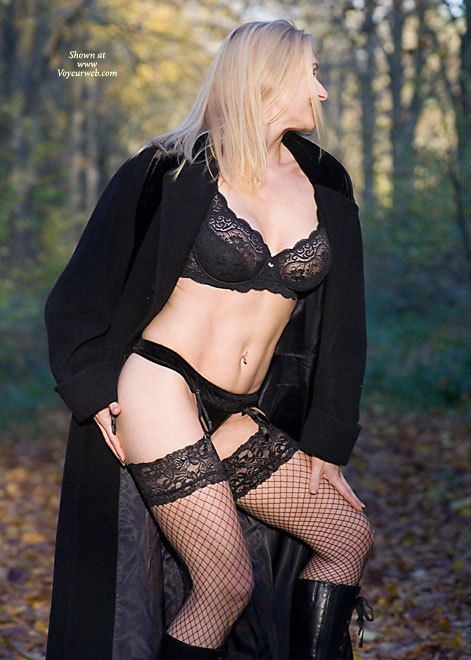 Pic #1 - Lingerie Portrait Outdoors - Blonde Hair, Stockings , Blonde In Black Undies, Stockings, Black Mesh Stockings, Panties With Garter, G String, Fishnet Stockings, Black Trench Coat, Black Lace Bra, Black Undies, Artistic Outdoors, Posing Outdoors, Outdoor Setting, Navel Adornment