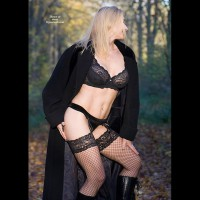 Lingerie Portrait Outdoors - Blonde Hair, Stockings