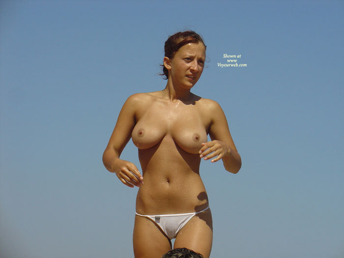Pic #1 - Wet After Swimming - Big Tits, Camel Toe, Erect Nipples, Large Breasts, Natural Tits, Topless , White Wicked Weasel Panties, Large Natural Breasts, Arms Raised, Beach Picture, Walking Along, Wet Cameltoe, Standing Topless